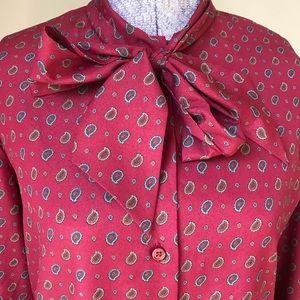 Vtg 80s blouse small medium paisley